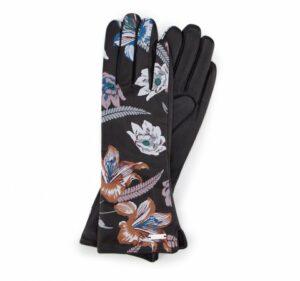 rękawiczki damskie z kwiatowym motywem