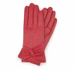 ocieplane czerwone rękawiczki