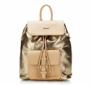 złoty plecak damski