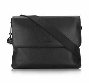 skórzana torba na laptopa z klapą