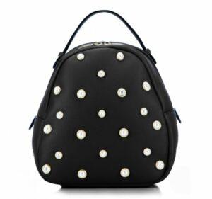 czarny plecak damski z perłami