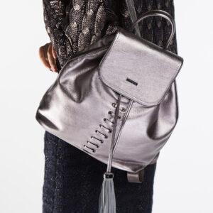 srebrny plecak damski
