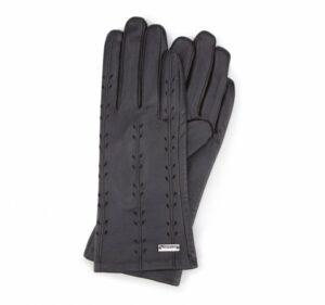 czarne rękawiczki z ozdobnymi przeszyciami