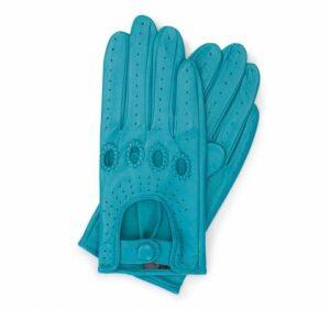 turkusowe rękawiczki samochodowe