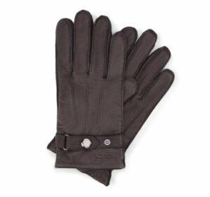 czarne rękawiczki ze skóry licowej