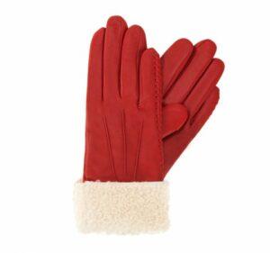 czerwone rękawiczki damskie z polarem