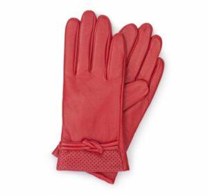 czerwone rękawiczki skórzane