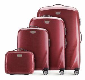 bordowy zestaw walizek z kolekcji PC Ultra Light
