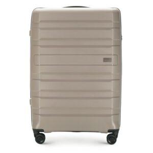 szaro-beżowa walizka z kolekcji PP-Matte Stripes
