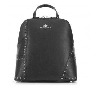 czarny plecak ze srebrnymi płatami