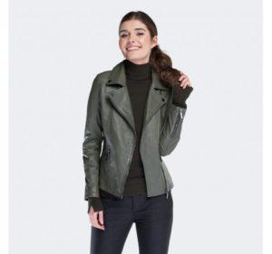 skórzana kurtka w kolorze khaki