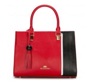 czerwono-czarny kuferek ze skóry licowej