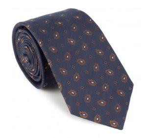 Prezent na Dzień Ojca: granatowo-brązowy krawat