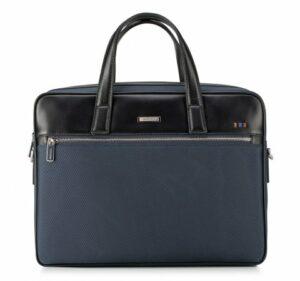 granatowo-czarna torba na laptopa