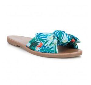 letnie buty damskie: klapki z kokardką