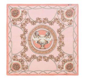 letnie stylizacje: różowo-złota chusta z jedwabiu