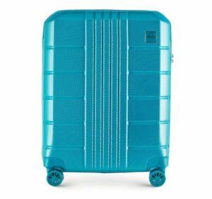 turkusowa walizka z policarbonu