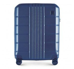 twarda walizka kabinowa z poliwęglanu z pionowymi i poziomymi zdobieniami