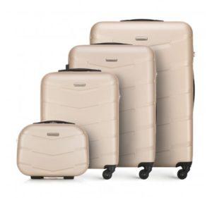 modne walizki: beżowy zestaw walizek z ABS