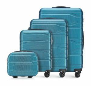 modne walizki: niebieski zestaw walizek z policarbonu