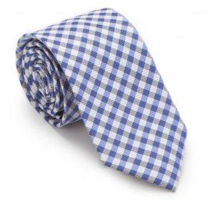 modne krawaty: jedwabny krawat w drobną niebieską kratkę