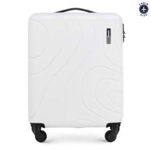 modne walizki: biała walizka kabinowa