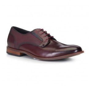bordowe buty męskie ze skóry licowej