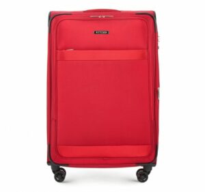 czerwona walizka poliestrowa