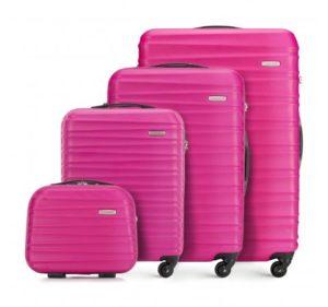 komplet różowych walizek z ABS-u