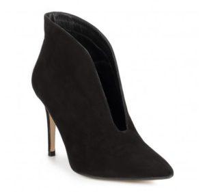 buty na jesień: zamszowe botki na słupku