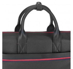 czarna torba na laptopa ze skóry groszkowej