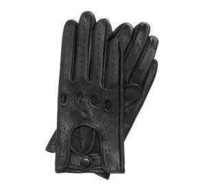 czarne skórzane rękawiczki