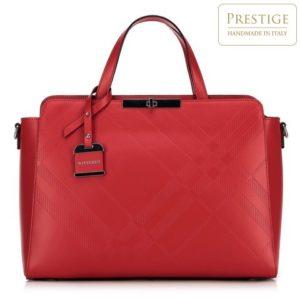 czerwony kuferek ze skóry licowej