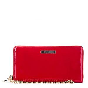 czerwony portfel lakierowany