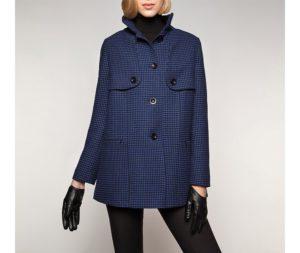 płaszcz w drobną kratkę
