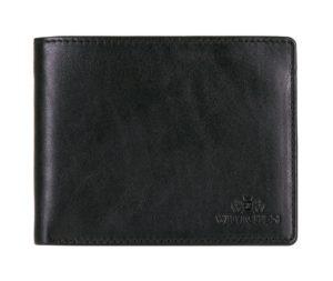 czarny portfel ze skóry licowej