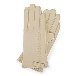 kremowe rękawiczki damskie