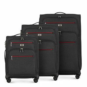 czarny zestaw walizek z kolekcji Comfort Line II
