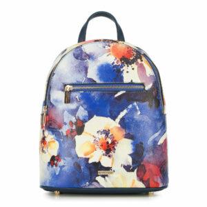 Niebieski plecak w kwiaty