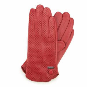 Czerwone rękawiczki ze skóry perforowanej
