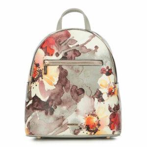 Szarozielony plecak w kwiaty