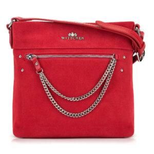 Czerwona torebka z łańcuszkami