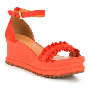 Pomarańczowe sandały na koturnie