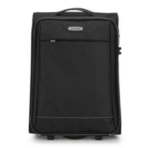 Miękka czarna walizka na kółkach
