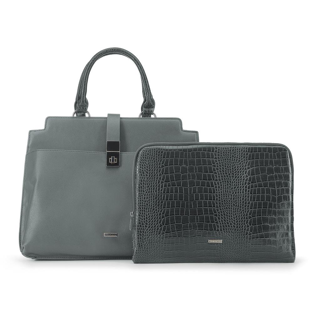 Szara torba z pokrowcem na laptopa