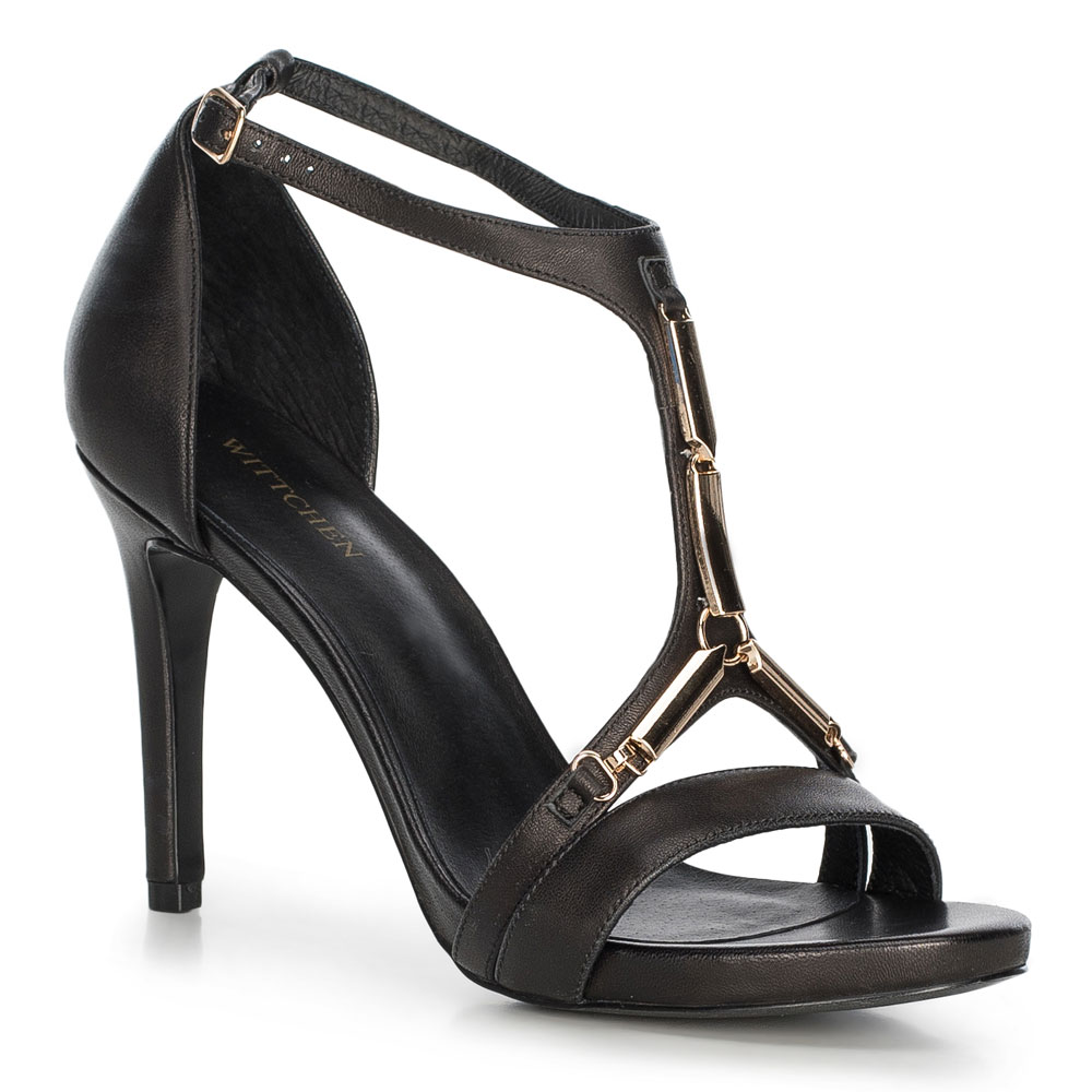 Czarne sandały ze skóry naturalnej