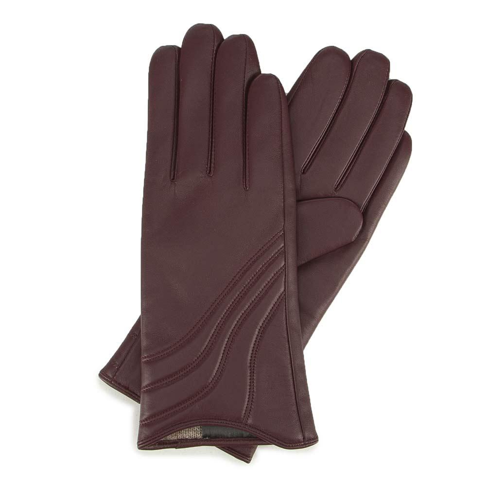 Bordowe rękawiczki skórzane