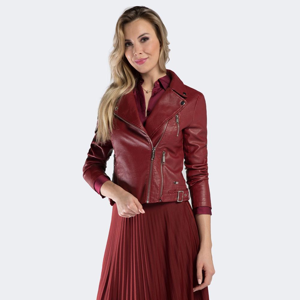 Czerwona damska kurtka ze skóry