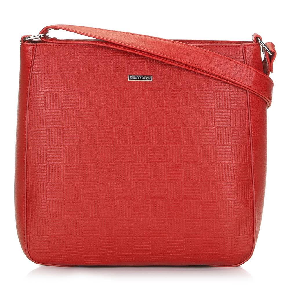 Jasnoczerwona torebka listonoszka
