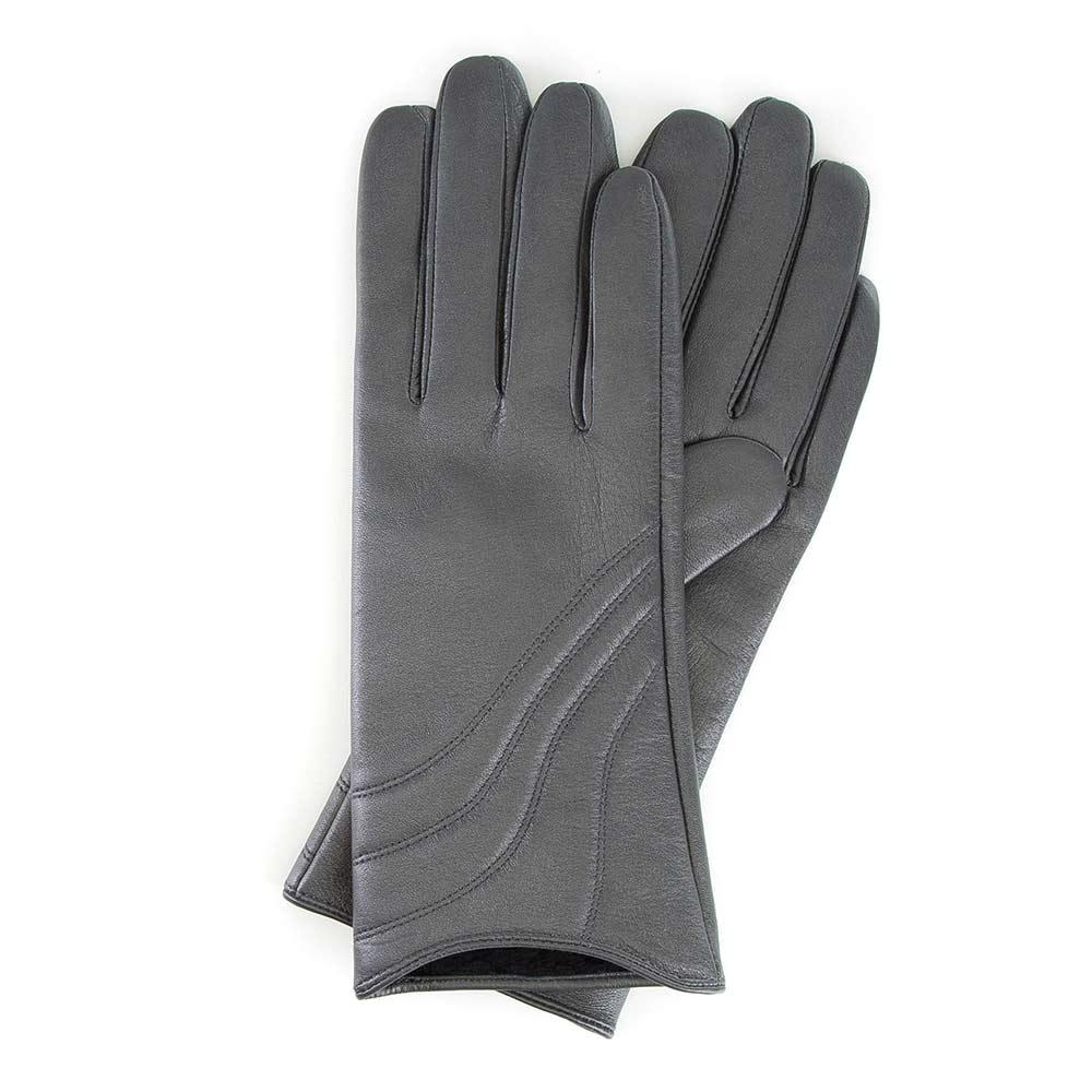 Damskie rękawiczki szare z przeszyciem